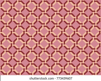 Seamless octagonal pattern vector. Design print red on light red. For textile, wallpaper, background.