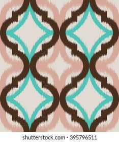 Seamless ogee ikat, vector ethnic background, traditional eastern pattern in coral pink, aqua blue and mokka brown on ecru background.