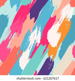 seamless oil painting vector illustration. abstract brushstroke background, colorful patter