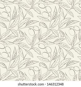 Seamless olive background black and white. Vector illustration.