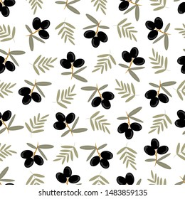 Seamless olive pattern. Bunch of olive tree.