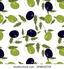 Seamless olive pattern with green leaves. Vector pattern