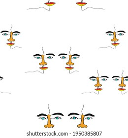 Seamless one line face hand drawn wit colorful paint pattern background  design vector eps.10