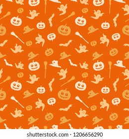 Seamless orange background with a Halloween theme. The background shows a pumpkin, a broom, a witch's cap, a ghost and a bat.