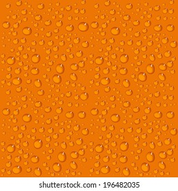 Seamless orange background with water drops. Vector illustration