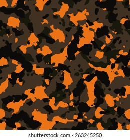 Seamless orange and brown fashion camo pattern vector