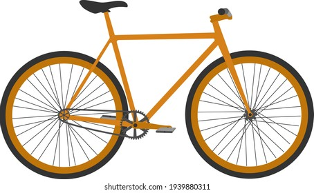 Seamless orange fixed gear bicycle illustration in vector
