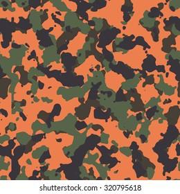 Seamless orange and woodland fashion camouflage pattern vector