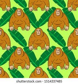 Seamless Orangutan Animal Pattern. Vector Illustration EPS 10.