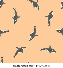 Seamless orca icon pattern on burly wood background. Simple flat vector design with bright colors for wrapping paper or web.