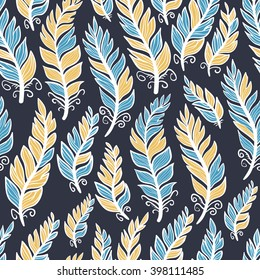 Seamless oriental boho pattern with feathers. Dark blue with blue, white and yellow details. Hand drawn repeating background texture. Clothes design, wallpaper, wrapping. Changeable colors.