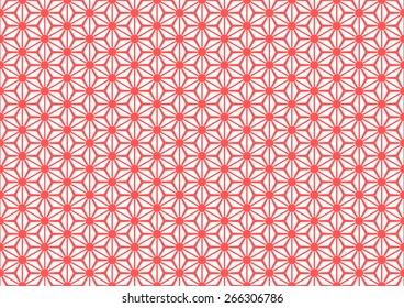 Seamless Oriental Floral Pattern With Large Dot on The Center of Each Grid. Red Color.