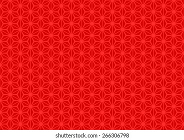 Seamless Oriental Floral Pattern With Large Dot on The Center of Each Grid. Red Color on Red Background.