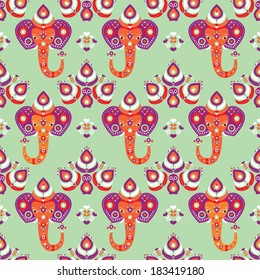Seamless oriental india elephant and peacock illustration background pattern in vector
