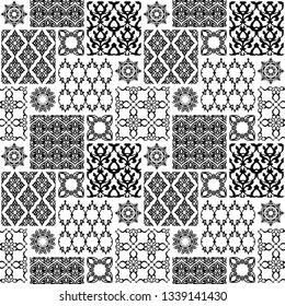 Seamless with oriental motif. Black and white patchwork background. Set of pattern with filigree ornaments. Vector illustration.