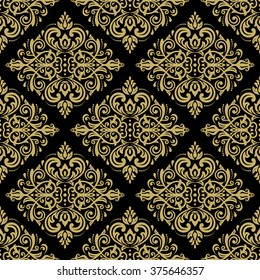 Seamless oriental ornament in the style of baroque. Traditional classic vector golden pattern