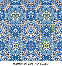 Seamless oriental ornamental pattern. Vector laced decorative background with floral and geometric ornament. Repeating mosaic tiles with mandala. Indian or Arabic motive.