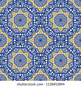 Seamless oriental ornamental pattern. Vector laced decorative background with floral and geometric ornament. Repeating tiles with mandala. Indian or Arabic motive.