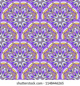 Seamless oriental ornamental pattern. Vector laced decorative background with round floral and geometric ornament. Repeating tiles with mandala. Indian or Arabic motive.
