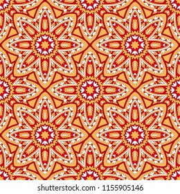 Seamless oriental ornamental pattern. Vector laced decorative background with round floral and geometric ornament. Repeating mosaic tiles with mandala. Indian or Arabic motive.