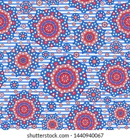 Seamless oriental ornamental pattern. Vector laced decorative background with floral and geometric ornament. Repeating striped tiles with mandala. Indian or Arabic motive.