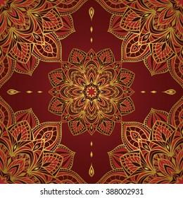 Seamless Oriental Pattern Of Mandalas On A Dark Red Background Vector Elegant Ornament Stylized