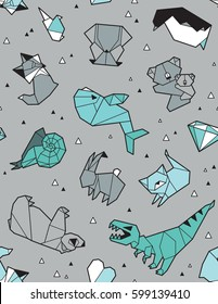 Seamless origami pattern with animals and triangles. Paper bear, cat, owl, whale, dinosaur, koala. Geometric background in green and gray colors