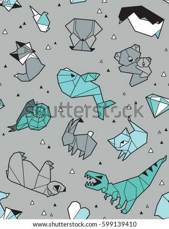 seamless origami pattern animals triangles paper のベクター画像素材