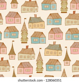 Seamless original pattern with decorative houses. City endless background. Doodle town template for crafts, textile, wallpapers, packages