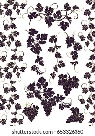 Seamless ornament and design elements with grapevines. Vector borders and design elements in vintage style with vines.