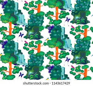 seamless ornament in the form of an emerald forest with pine trees, bushes, boulders, waterfall, birds and a butterfly on a dark background. fabulous, mystical flat style on a white background.