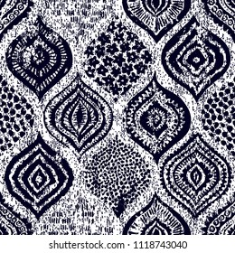 Seamless ornament in oriental style. Grunge texture. Handmade. Vintage print for textiles. Vector illustration.
