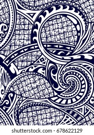 Seamless ornament with polynesian ethnic style elements
