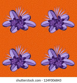 Seamless ornament print in orange and violet colors. Vector Indian floral plumeria flowers pattern. Ethnic towel, henna style. Can be used for greeting business card background, backdrop, textile.