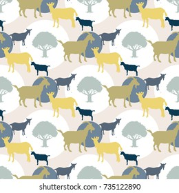 Seamless ornament with silhouettes of goats and trees. Agricultural pattern.