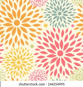 Seamless ornamental floral pattern. Decorative cute background with round flowers