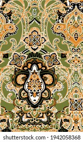 Seamless ornamental pattern Bohemian style indian pattern in orange, green, black. Trendy eastern design for fabric and interior textiles Paisley pastel pattern Vintage hand drawn ornate illustration.