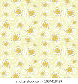 Seamless ornamental pattern with plumeria flowers. Vector