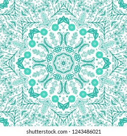 Seamless ornamental vector golden - turquoise floral texture on white background