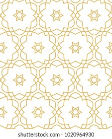 Seamless ornamental vector pattern in golden color