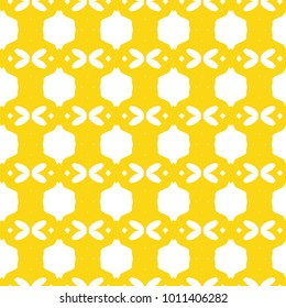Seamless ornamental vector pattern in yellow color.