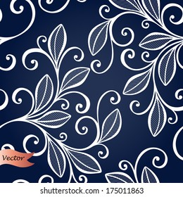 Seamless Ornate Floral Pattern with Leaves (Vector)