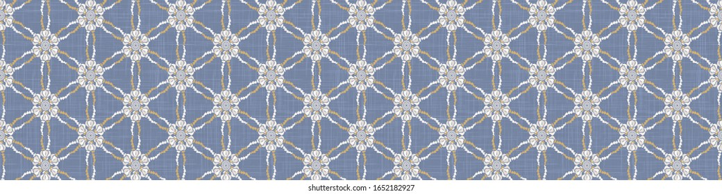 Seamless ornate medallion border pattern in french cream linen shabby chic style. Hand drawn floral damask bordure. Old white blue background. Interior home decor edging. Ornate flourish ribbon trim