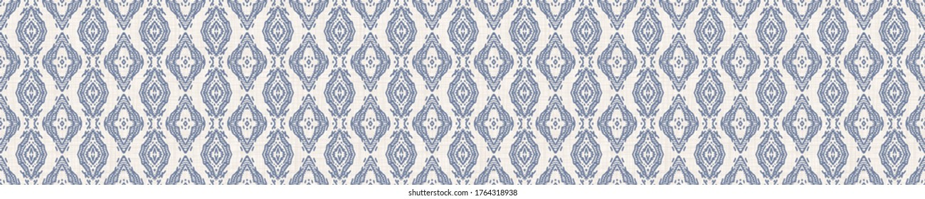 Seamless ornate medallion border pattern in french blue linen shabby chic style. Hand drawn floral damask bordure. Old white blue background.  Interior home decor edging. Ornate flourish ribbon trim