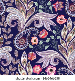 seamless ornate pattern with paisley, bunch of bright flowers, branch with small  decorative leaves and curls