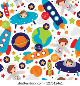 Seamless outer space ufo rocket science kids background pattern in vector