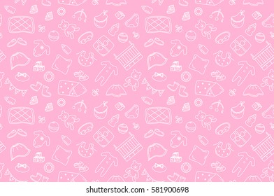 Seamless outline baby icons pattern on pink background