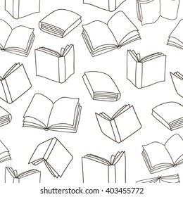 Seamless outline books pattern. Vector Monochrome texture. Vector seamless texture