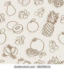 seamless outline drawing fruits pattern