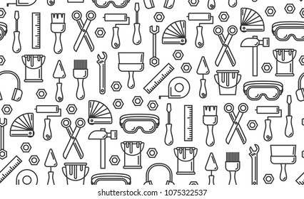 Seamless outline pattern with working tools for construction, building and home repair icons. Vector illustration. Elements for design. Hand work tools collection. Graphic texture for design, wallpape